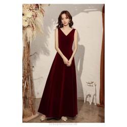 Elegant Floor Length Burgundry Velvet Formal Clothes With Beading Backless Zipper V neck