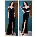 Sexy Floor Length Black Velvet Mermaid Formal Dress With Slit Tassels Spaghetti Straps Zipper Back New