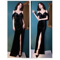 Sexy Floor Length Black Velvet Mermaid Formal Dress With Slit Tassels Spaghetti Straps Zipper Back