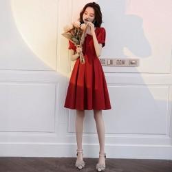 Fashion A-line Knee Length Red Chiffon Semi Formal Dress Zipper Short Sleeve Square Neck