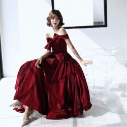 Noble Floor Length Burgundry Velvet Princess Formal Gown Off The Shoulder With Bowknot Lace up