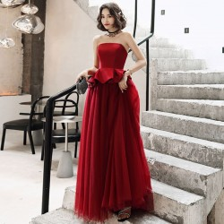 Allure Floor Length Lace up Burgundry Tulle Satin Strapless Formal Dress