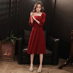 Fashion Knee Length Burgundry Chiffon Long Sleeve Semi Formal Dress Zipper Back Square Neck