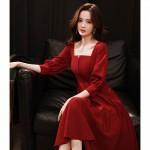 Fashion Knee Length Burgundry Chiffon Long Sleeve Semi Formal Dress Zipper Back Square Neck New