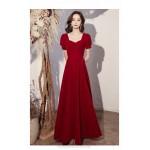 Elegant Floor Length Burgundry Chiffon Semi Formal A-Line Dress Lace up Square Neck New