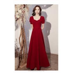 Elegant Floor Length Burgundry Chiffon Semi Formal A-Line Dress Lace up Square Neck