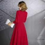 Cute Knee Length Red Chiffon Long Sleeve Semi Formal Dress Lapel Of Suit Neck Zipper Back New