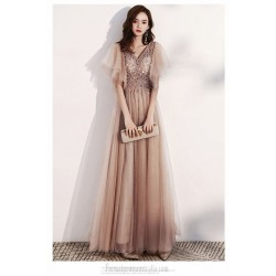 Brilliant Floor Length Champage Organza Formal Dress With Sequines Lace up V neck