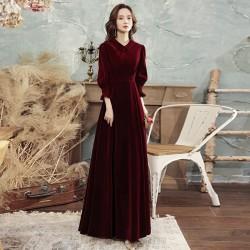 Noble Floor Length Burgundry Velvet Long Sleeve Formal Attire Zipper Back Fashion Lapel