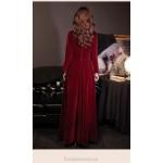 Elegant Floor Length Burgundry Velvet Long Sleeve Formal Dress Standing Small V-neck Fashion Single Breasted New