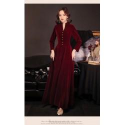 Elegant Floor Length Burgundry Velvet Long Sleeve Formal Dress Standing Small V-neck Fashion Single Breasted