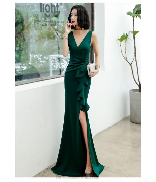Sexy Floor Length Mermaid Green Satin Formal Dress With Slit Zipper up V neck New