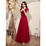 Noble Floor Length Red Tulle Formal Dress With Sequines Appliques Lace up V Neck New