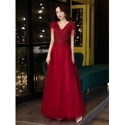 Noble Floor Length Red Tulle Formal Dress With Sequines Appliques Lace up V Neck