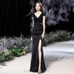 Noble Floor Length Black Chiffon Mermaid Formal Dress With Slit Sequines Low Back Zipper up V Neck New