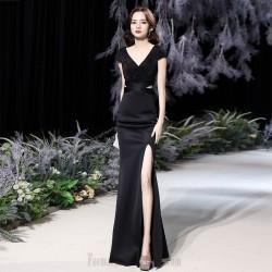Noble Floor Length Black Chiffon Mermaid Formal Dress With Slit Sequines Low Back Zipper up V Neck
