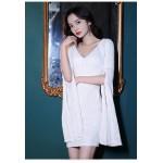 Sexy Short White Formal Wrap Dress Long Sleeve With Slit Zipper Back V Neck New