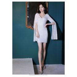 Sexy Short White Formal Wrap Dress Long Sleeve With Slit Zipper Back V Neck