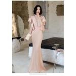 Noble Floor Length Pink Satin Mermaid Formal Dress With Appliques Zipper Back Deep V neck New