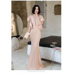 Noble Floor Length Pink Satin Mermaid Formal Dress With Appliques Zipper Back Deep V neck