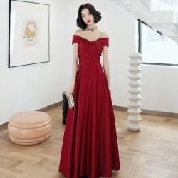 Fashion Floor Length A-line Red Satin Off The Shoulder Formal Attire Lace up Back