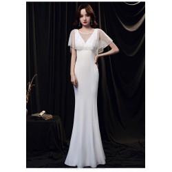 Elegant Floor Length White Satin Mermaid Formal Dress With Sequines Shawl Zipper Back V Neck