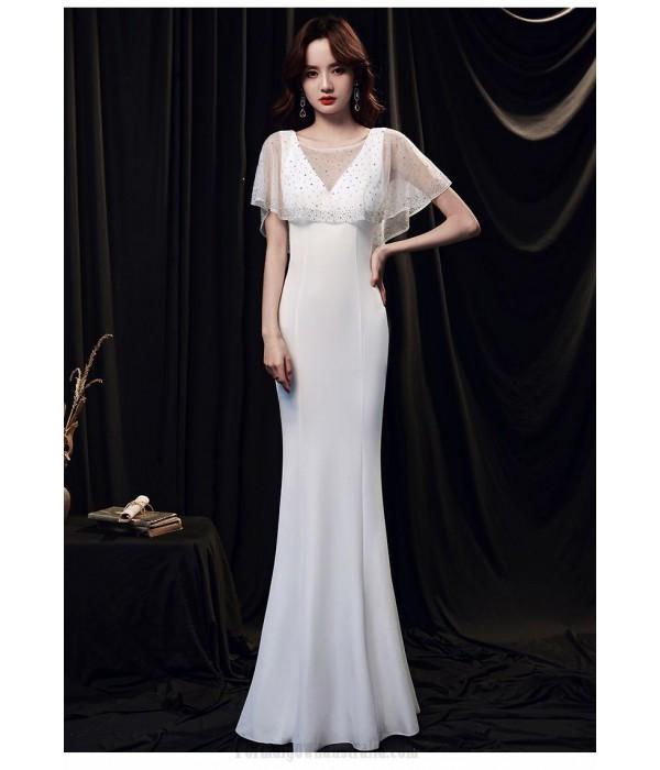 Elegant Floor Length White Satin Mermaid Formal Dress With Sequines Shawl Zipper Back V Neck New