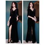 Noble Floor Length Black Velvet Mermaid Formal Dress With Slit Half Sleeve Zipper up V Neck New