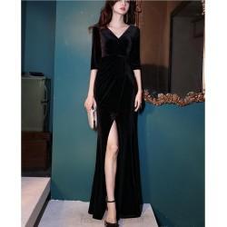 Noble Floor Length Black Velvet Mermaid Formal Dress With Slit Half Sleeve Zipper up V Neck