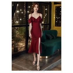 Sexy Tea Length Burgundry Chiffon Formal Dress With Slit Sequines Spaghetti Straps Raglan Sleeve Zipper up