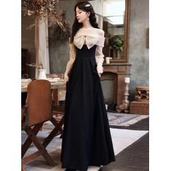 Fashion Floor-length Balck Chiffon Evening Dress With Bowknot Illusion-neck Zipper Back Long Sleeves Formal Dress