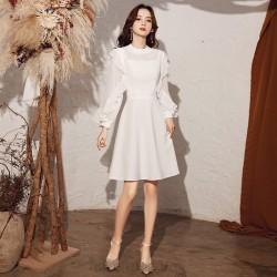 Elegant Knee-length White Chiffon Party Dress Fashion Lotus leaf edge Zipper Back Long Slevees Formal Dress
