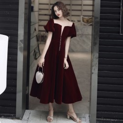 Allure Ankle Length Burgundy Velvet Formal Gown Illusion Neck Lace up Fashion Short Sleeve