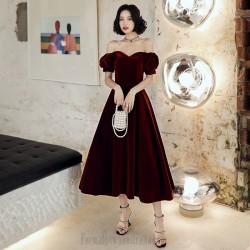 Noble Ankle Length Burgundry Velvet  Formal Gown Off The Shoulder Lace up