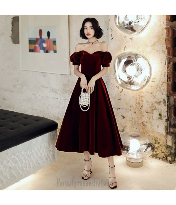 Noble Ankle Length Burgundry Velvet Formal Gown Off The Shoulder Lace up New