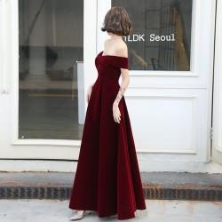 Noble Floor Length Burgundry Velvet Formal Dress Lace up Off The Shoulder