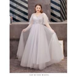 Elegant Floor Length A-line Grey Tulle Plus Size Formal Dress With Appliques Lace up V Neck