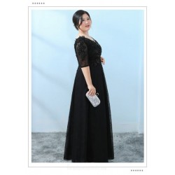 High end Floor Length A-line Black Lace Plus Size Formal Dress With Sequines Half Sleeve Lace up V Neck