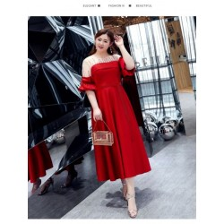 Fashion Tea Length Red Chiffon Plus Size Formal Dress Hollow Lace up Half Sleeve Sheer Neck