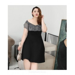Glamorous Knee Length Zipper Back Bateau Neck Black Chiffon Plus Size Formal Dress