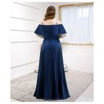 High end Floor Length Blue Satin Plus Size Formal Dress Lace up Off The Shoulder New