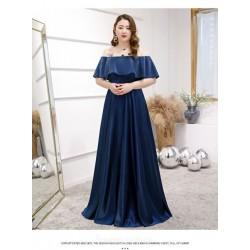 High end Floor Length Blue Satin Plus Size Formal Dress Lace up Off The Shoulder