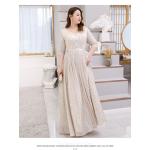 Elegant Floor Length Champagne Plus Size Formal Dress Half Sleeve Lace up V Neck New