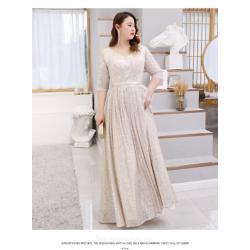 Elegant Floor Length Champagne Plus Size Formal Dress Half Sleeve Lace up V Neck