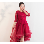 Allure High low Red Lace Tulle Plus Size Formal Dress Half Sleeve Lace up Crew Neck New