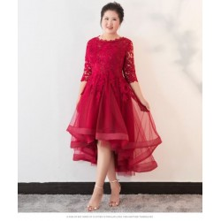 Allure High low Red Lace Tulle Plus Size Formal Dress Half Sleeve Lace up Crew Neck