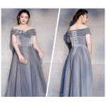 Noble Floor Length Grey Plus Size Formal Dress Lace up Off The Shoulder New