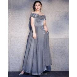 Noble Floor Length Grey Plus Size Formal Dress Lace up Off The Shoulder