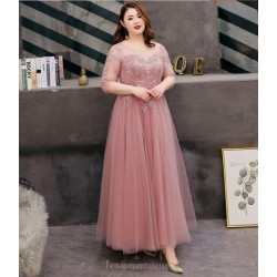 A-line Floor Length Bean Paste Tulle Plus Size Formal Dress Half Sleeve Lace up Crew Neck With Appliques