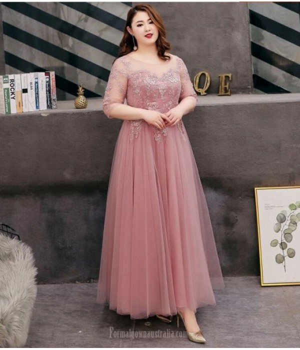 A-line Floor Length Bean Paste Tulle Plus Size Formal Dress Half Sleeve Lace up Crew Neck With Appliques New